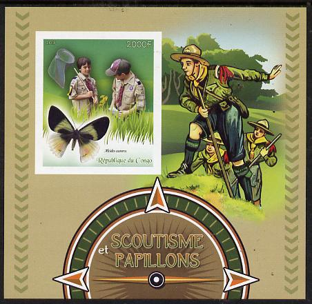 Congo 2015 Scouts & Butterflies imperf deluxe sheet #2 containing one value unmounted mint