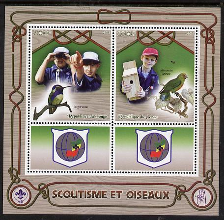 Congo 2015 Scouts & Birds perf sheetlet containing 2 stamps & 2 labels unmounted mint