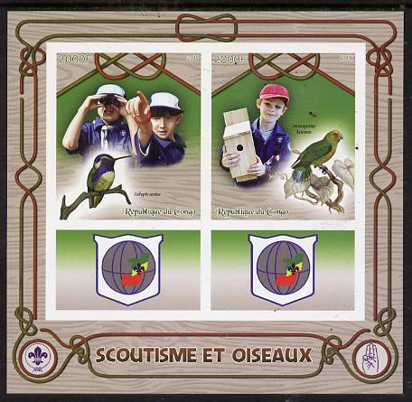 Congo 2015 Scouts & Birds imperf sheetlet containing 2 stamps & 2 labels unmounted mint