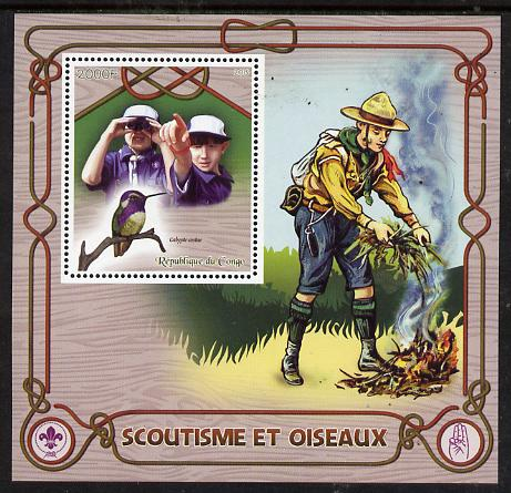 Congo 2015 Scouts & Birds perf deluxe sheet #2 containing one value unmounted mint