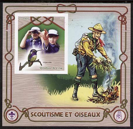 Congo 2015 Scouts & Birds imperf deluxe sheet #2 containing one value unmounted mint