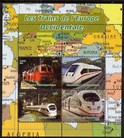 Madagascar 2015 Trains of Europe perf sheetlet containing 4 values unmounted mint. Note this item is privately produced and is offered purely on its thematic appeal, it has no postal validity