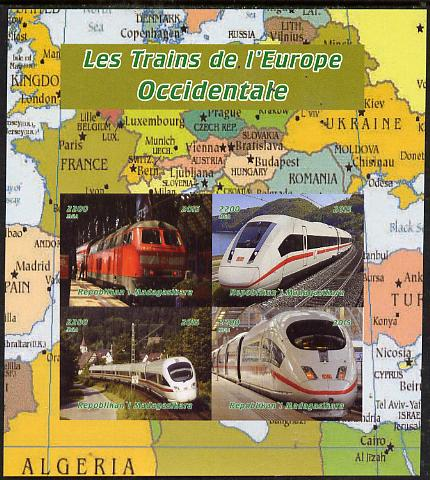Madagascar 2015 Trains of Europe imperf sheetlet containing 4 values unmounted mint. Note this item is privately produced and is offered purely on its thematic appeal