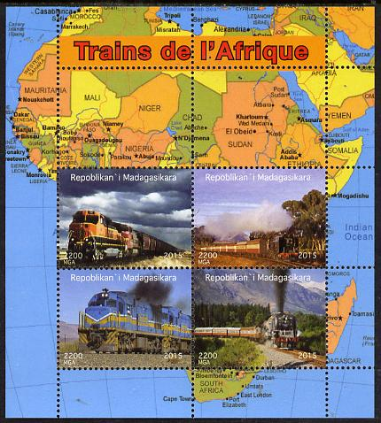 Madagascar 2015 Trains of Africa perf sheetlet containing 4 values unmounted mint. Note this item is privately produced and is offered purely on its thematic appeal, it has no postal validity