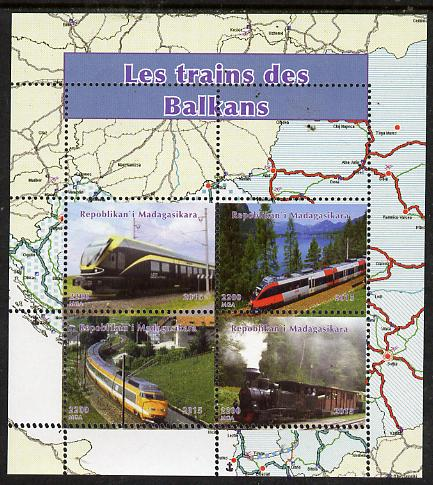 Madagascar 2015 Trains of The Balkans ierf sheetlet containing 4 values unmounted mint. Note this item is privately produced and is offered purely on its thematic appeal, it has no postal validity