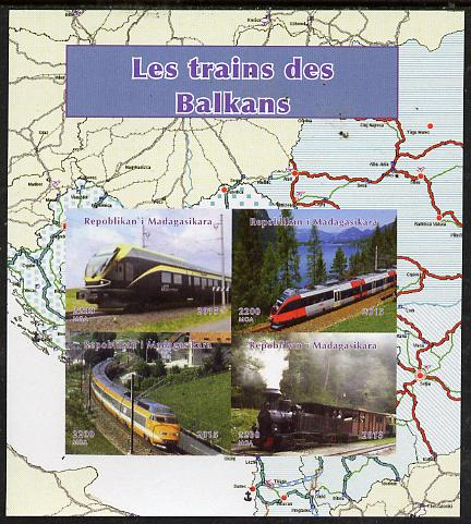 Madagascar 2015 Trains of The Balkans imperf sheetlet containing 4 values unmounted mint. Note this item is privately produced and is offered purely on its thematic appeal