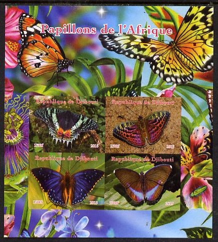 Djibouti 2015 Butterflies of Africa imperf sheetlet containing 4 values unmounted mint. Note this item is privately produced and is offered purely on its thematic appeal