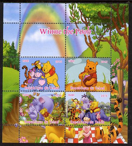 Chad 2015  Winnie The Pooh #2 perf sheetlet containing 4 values unmounted mint. Note this item is privately produced and is offered purely on its thematic appeal, it has no postal validity
