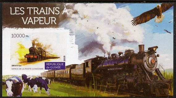 Guinea - Conakry 2015 Steam Trains #3 imperf deluxe sheet unmounted mint. Note this item is privately produced and is offered purely on its thematic appeal