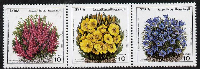Syria 1995 Int Flower Show strip of 3 unmounted mint