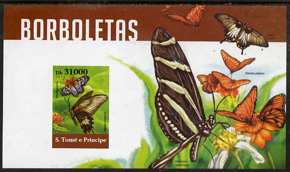 St Thomas & Prince Islands 2015 Butterflies #5 imperf deluxe m/sheet unmounted mint. Note this item is privately produced and is offered purely on its thematic appeal