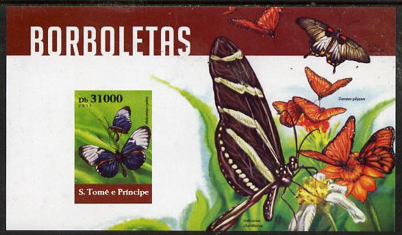 St Thomas & Prince Islands 2015 Butterflies #6 imperf deluxe m/sheet unmounted mint. Note this item is privately produced and is offered purely on its thematic appeal