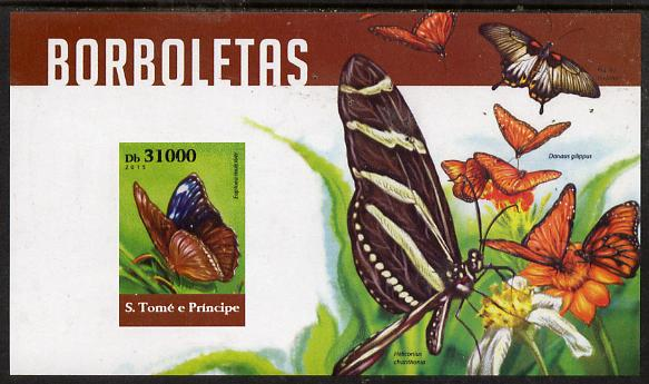 St Thomas & Prince Islands 2015 Butterflies #7 imperf deluxe m/sheet unmounted mint. Note this item is privately produced and is offered purely on its thematic appeal