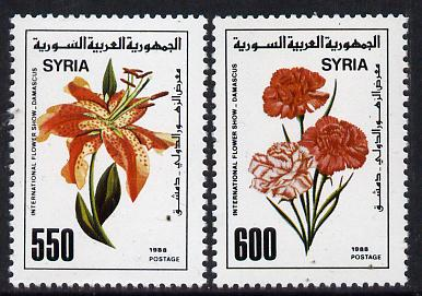 Syria 1988 Int Flower Show set of 2, SG 1693-94