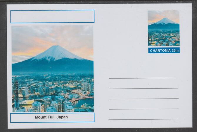 Chartonia (Fantasy) Landmarks - Mount Fuji, Japan postal stationery card unused and fine