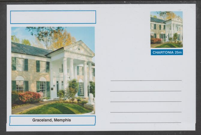 Chartonia (Fantasy) Landmarks - Graceland, Memphis postal stationery card unused and fine