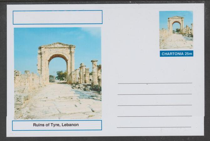 Chartonia (Fantasy) Landmarks - Ruins of Tyre, Lebanon postal stationery card unused and fine