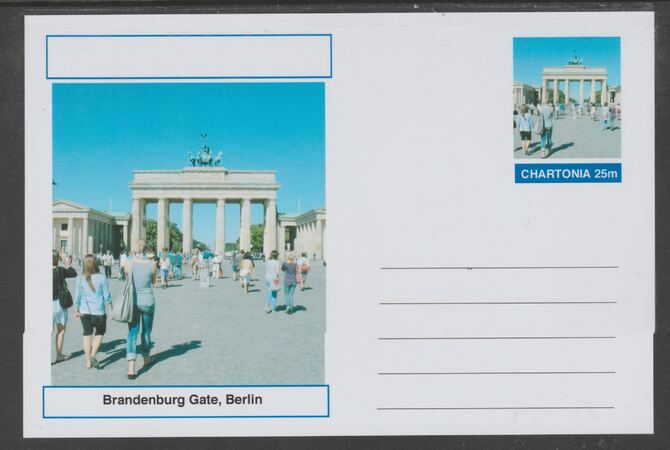 Chartonia (Fantasy) Landmarks - Brandenburg Gate, Berlin postal stationery card unused and fine, stamps on tourism, stamps on