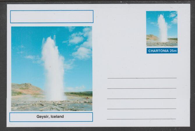 Chartonia (Fantasy) Landmarks - Geysir, Iceland postal stationery card unused and fine