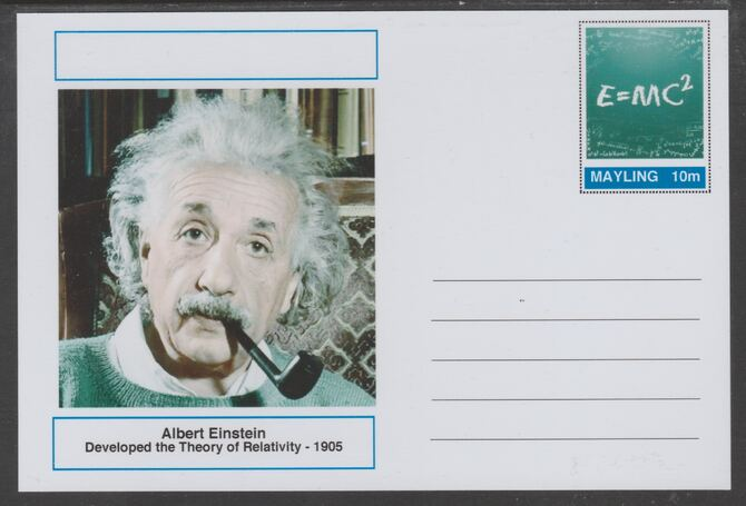 Mayling (Fantasy) Great Minds - Albert Einstein - glossy postal stationery card unused and fine
