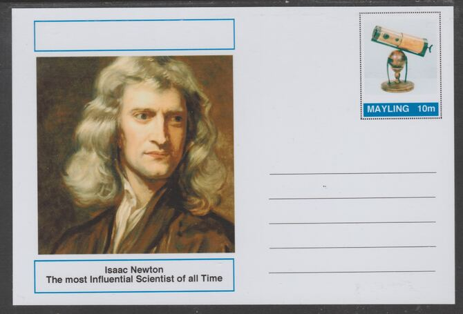 Mayling (Fantasy) Great Minds - Isaac Newton - glossy postal stationery card unused and fine