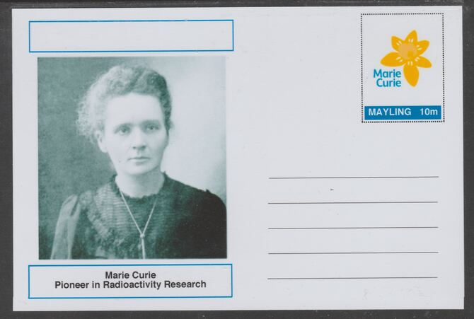 Mayling (Fantasy) Great Minds - Marie Curie - glossy postal stationery card unused and fine