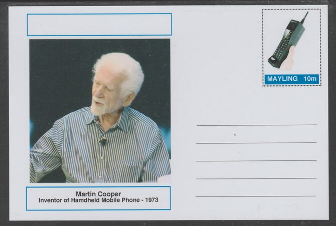 Mayling (Fantasy) Great Minds - Martin Cooper - glossy postal stationery card unused and fine