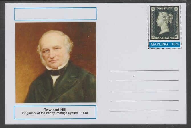 Mayling (Fantasy) Great Minds - Rowland Hill - glossy postal stationery card unused and fine