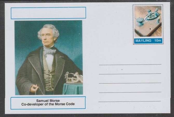 Mayling (Fantasy) Great Minds - Samuel Morse - glossy postal stationery card unused and fine