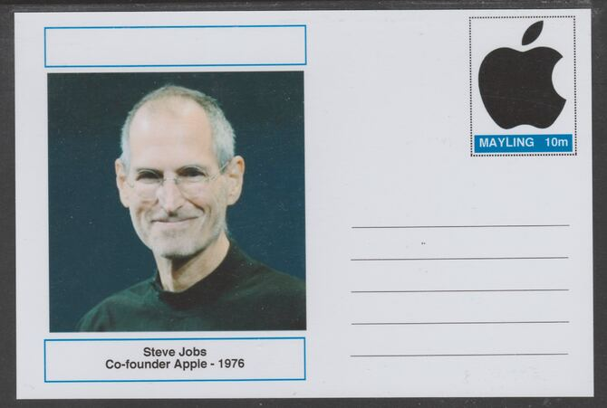 Mayling (Fantasy) Great Minds - Steve Jobs - glossy postal stationery card unused and fine