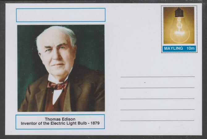 Mayling (Fantasy) Great Minds - Thomas Edison - glossy postal stationery card unused and fine