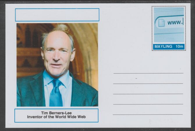 Mayling (Fantasy) Great Minds - Tim Berners-Lee - glossy postal stationery card unused and fine