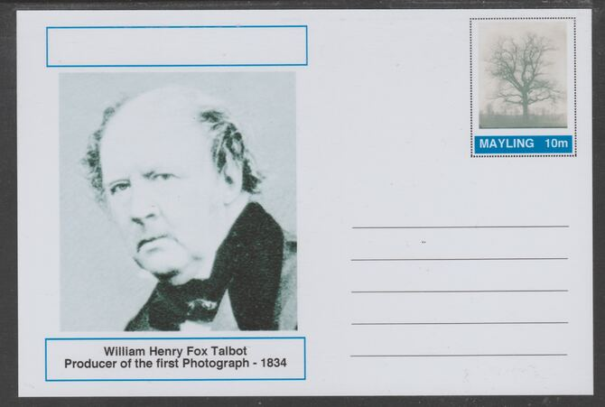 Mayling (Fantasy) Great Minds - William Henry Fox Talbot - glossy postal stationery card unused and fine