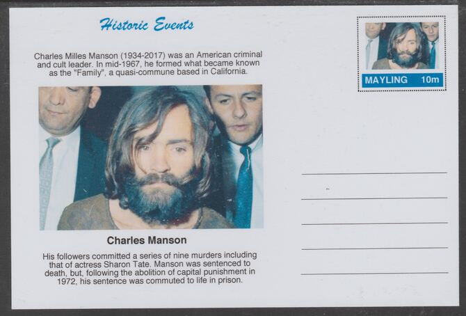 Mayling (Fantasy) Historic Events - Charles Manson - glossy postal stationery card unused and fine