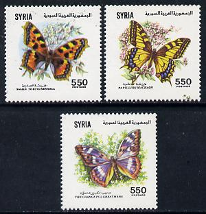 Syria 1991 Butterflies set of 3 unmounted mint, SG 1803-05