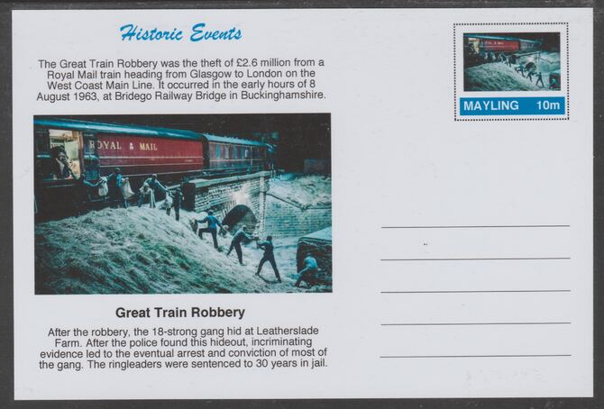 Mayling (Fantasy) Historic Events - Great Train Robbery - glossy postal stationery card unused and fine