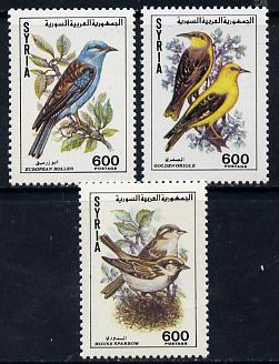 Syria 1991 Birds set of 3 unmounted mint, SG 1806-08