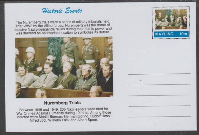 Mayling (Fantasy) Historic Events - Nuremberg Trials - glossy postal stationery card unused and fine, stamps on , stamps on  ww2 , stamps on