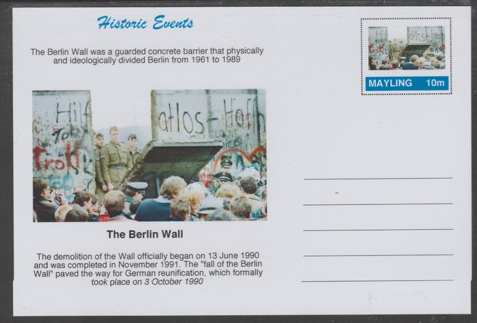 Mayling (Fantasy) Historic Events - Berlin Wall - glossy postal stationery card unused and fine, stamps on , stamps on  ww2 , stamps on