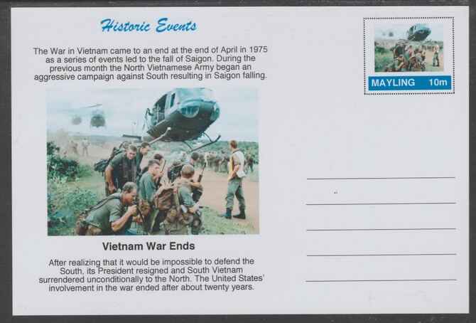 Mayling (Fantasy) Historic Events - Vietnam War Ends - glossy postal stationery card unused and fine