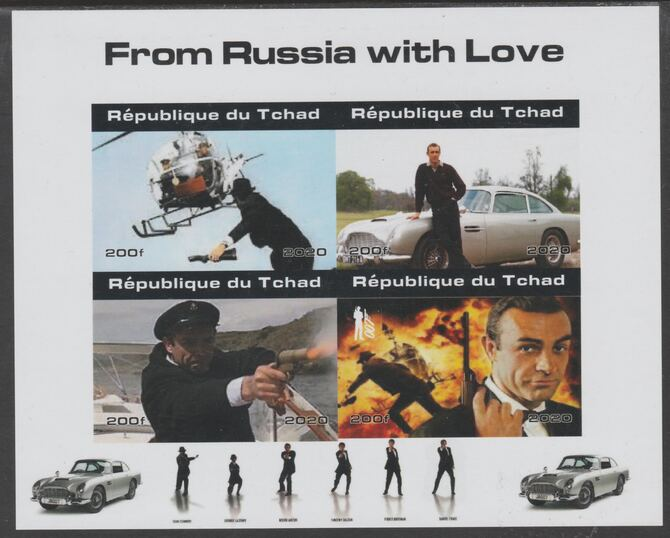Chad 2020 James Bond - From Russia With Love imperf sheetlet containing 4 values unmounted mint. Note this item is privately produced and is offered purely on its themati...