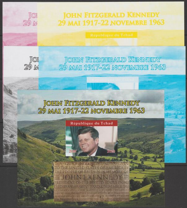 Chad 2020 JFK English Memorial acre - imperf set of 5 progressive sheets comprising the 4 individual colours and completed design unmounted mint. Note this item is privately produced and is offered purely on its thematic appeal