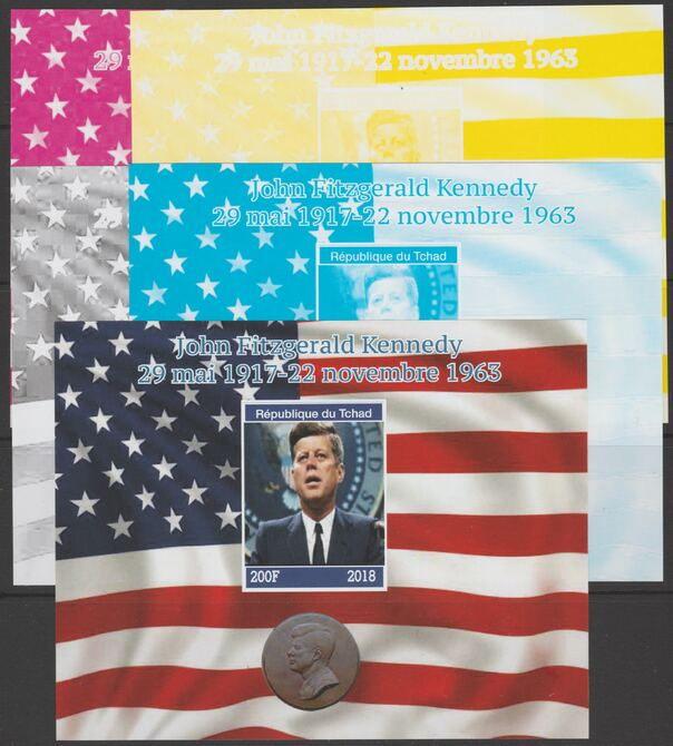Chad 2018 John Fitzgerald Kennedy - imperf set of 5 progressive sheets comprising the 4 individual colours and completed design unmounted mint. Note this item is privately produced and is offered purely on its thematic appeal