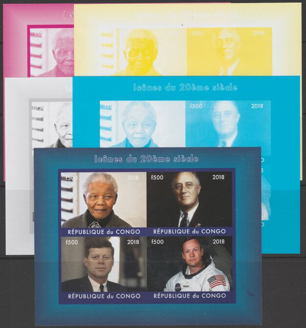 Congo 2018 Icons of 20th Century - J F Kennedy, Mandela, Neil Armstrong & F D Roosevelt - imperf set of 5 progressive sheets comprising the 4 individual colours and completed design unmounted mint. Note this item is privately produced and is offered purely on its thematic appeal