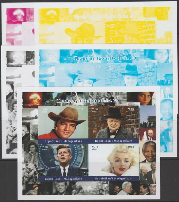 Madagascar 2018 Icons of 20th Century - J F Kennedy, Elvis, Churchill & Marilyn Munroe - imperf set of 5 progressive sheets comprising the 4 individual colours and completed design unmounted mint. Note this item is privately produced and is offered purely on its thematic appeal