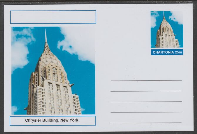 Chartonia (Fantasy) Landmarks - Chrysler Building, New York postal stationery card unused and fine