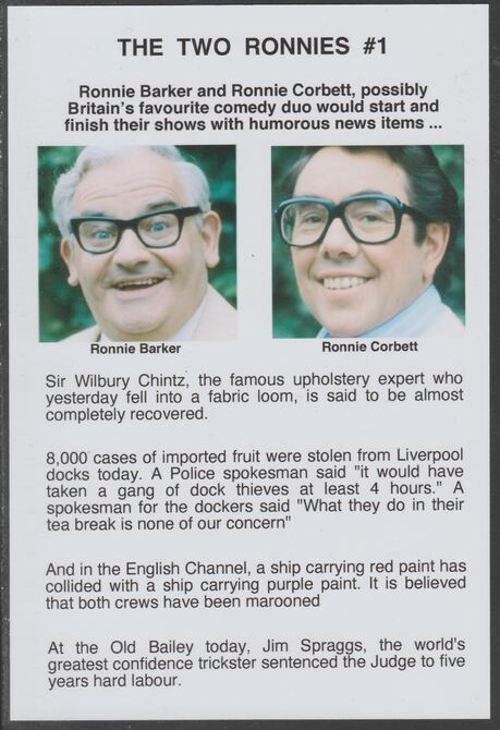 Cinderella - The Two Ronnies #01 Glossy card 150 x 100 mm showing Ronnie B & Ronnie C and 4 of their humorous news items