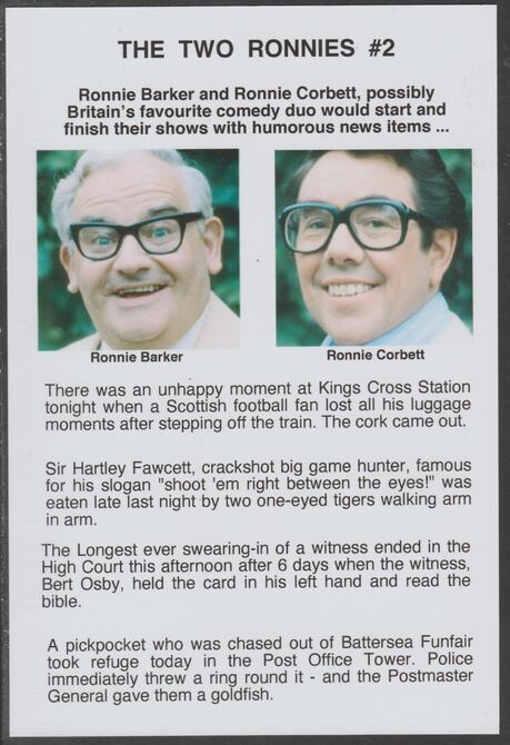 Cinderella - The Two Ronnies #02 Glossy card 150 x 100 mm showing Ronnie B & Ronnie C and 4 of their humorous news items