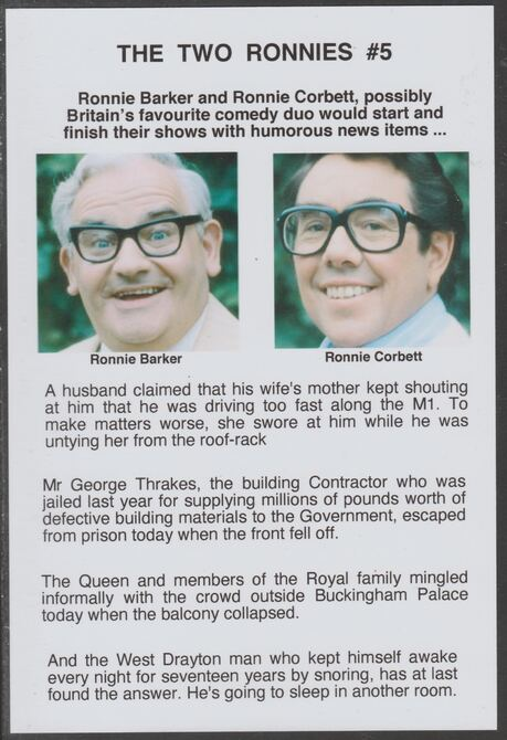 Cinderella - The Two Ronnies #05 Glossy card 150 x 100 mm showing Ronnie B & Ronnie C and 4 of their humorous news items