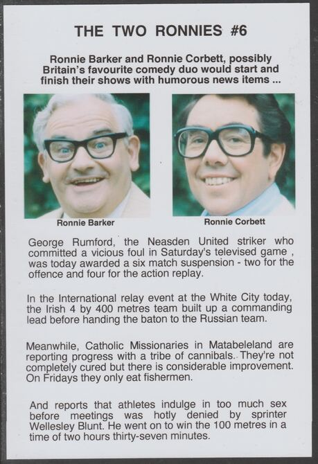 Cinderella - The Two Ronnies #06 Glossy card 150 x 100 mm showing Ronnie B & Ronnie C and 4 of their humorous news items